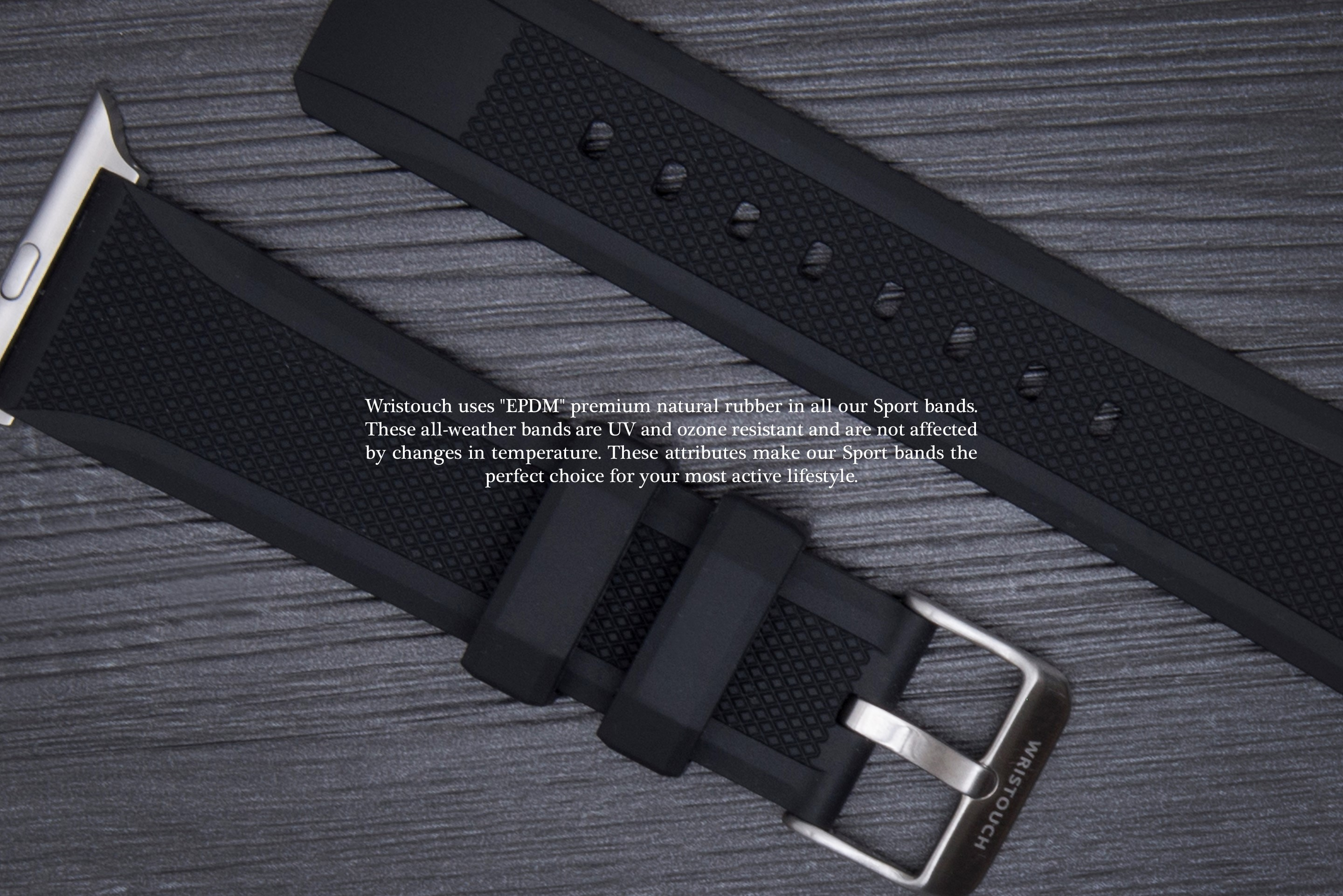 Durable Rubber Rubber Sport Band - Black